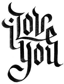 Tag calligraphy friends of type I love you calligraphy