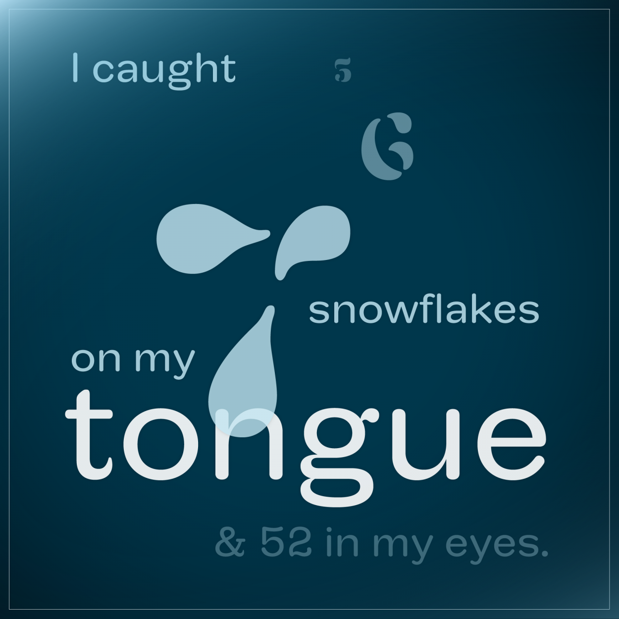 i caught 5, 6, 7 snowflakes on my toung & 52 in my eyes.